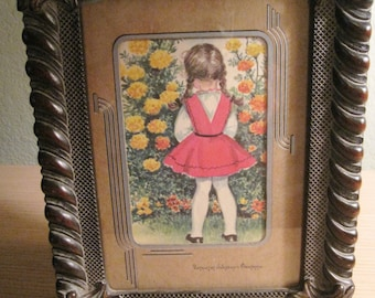 Antique framed illustration from vintage children's book
