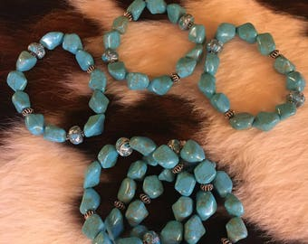 Turquoise Chunk And Leather Bracelet 6 Available