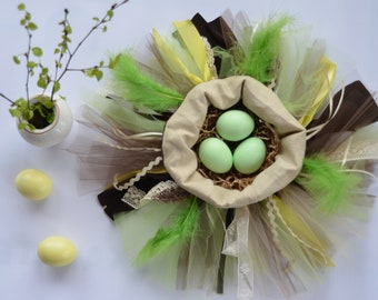 Easter egg nest - Egg basket - Easter decorations - yellow and green - Tapestry basket for Easter eggs - textile basket for Easter eggs