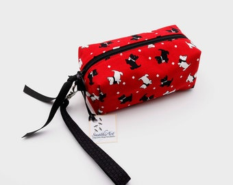 Scottie and Westie Red Small Box Bag 5.5x2x3 with Detachable Wrist Strap