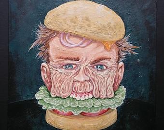 Hamburgerhead - original painting on panel