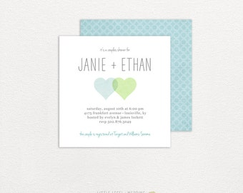 Couples Shower Invitations - Bridal Shower Invitations -  Wedding Shower - 2 Hearts - printed or digital