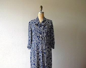 1940s polka dot dress . vintage 40s rayon dress