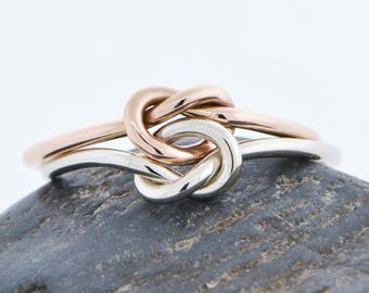 10K Rose Gold Ring, Knot Promise Ring, Double Love Knot Ring, Two Toned Ring, Friendship Ring, Engagement Ring, Love Ring, Gift For Her