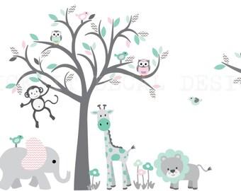 Grey Tree Wall Decal, Safari Animal Wall Decal, Grey Chevron Nursery Wall Decor, Jungle Animal wall decal, Aqua Mint Pink Design