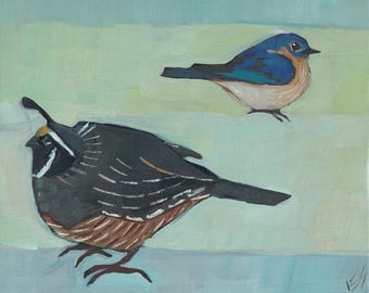 Quail And Bluebird Original Oil Painting