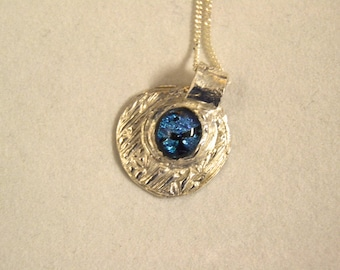 PMC3 pure silver(.999) pendant with deep blue cabochon and sterling silver chain 20""