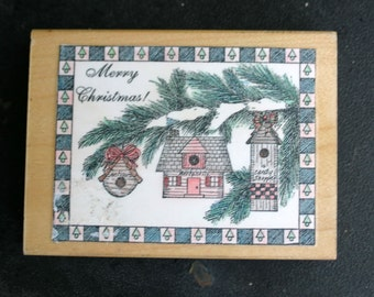 Wood Mounted Rubber Christmas Birdhouse Ornaments Stamp