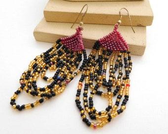 Vintage Red Black Gold Glass Seed Bead Boho Fringe Dangle Earrings A42