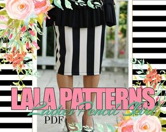 LALA Ladies Pencil Skirt PDF Sewing Pattern Digital Modest