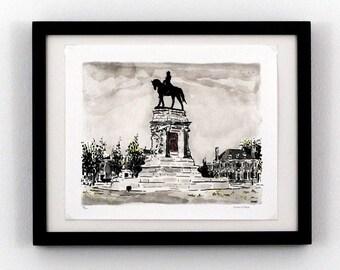 Robert E. Lee - Monument Ave, Richmond VA - Giclee Print