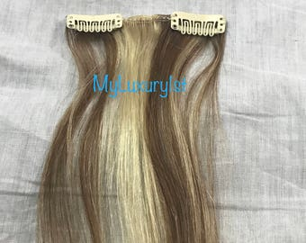 1 Piece Clip in Streak ASH Brown Blonde blended 2 clips Highlight Remy Human Hair Extensions 19 inches Real Streak Reusable straight
