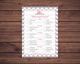 Pink Owl What's in Your Purse Game, Whats in Your Purse Baby Shower Game, Gray Grey Chevron Instant Download PDF Printable 369