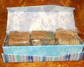 Valentine's Day Gift Box Set- 3 Handmade Goat's Milk Soaps- Blue