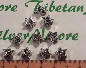10 pcs per pack 10x7.5mm 4.5mm opening hole Large Hole Starfish Beads Antique Silver Finish Lead Free Pewter