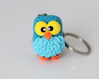 Turquoise Tiny Owl Keychain • One Of A Kind Gift idea • Mother's Day gift idea