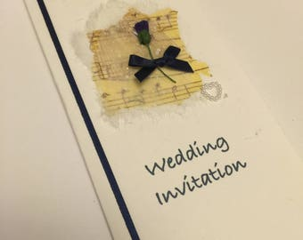 Scottish Wedding Stationery - (Thistle and music) Handcrafted Day and Evening  invitations
