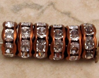 Bead, Antique Copper, Crystal Rhinestone Rondelle, Extra Large Hole, 8 mm, 6 Pc. C583