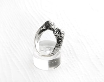 Adjustable Otter Heads Sterling Silver Ring