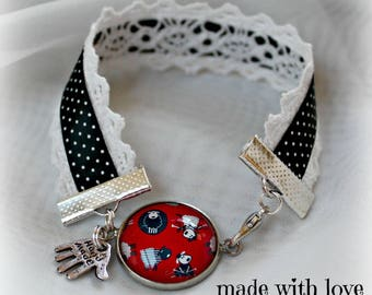 Bracelet liberty with sheep cabochon and lace