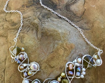Tourmaline , Pearl, Sterling , and Fine silver necklace