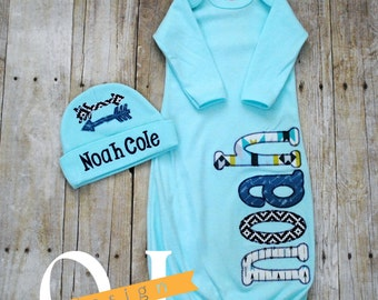 Personalized Name Baby Boy Arrow Embroidered - Newborn Hospital Set - Infant Gown - Onesie -  Newborn Infant Personalized Hospital Hat