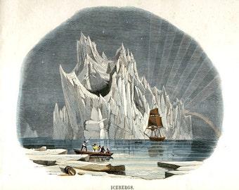 Antique Nature Print - Arctic Iceberg Art - Victorian Nautical Nature Illustration - Winter Scene Art Print