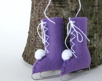 Felt Ice Skates Ornament Violet Puple Eco-Friendly Recycled olyteam