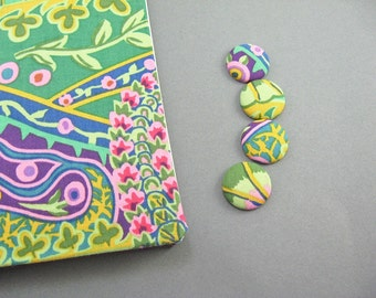 4 Fabric Covered Button Magnets, Paisley Jungle , Blue, Green Pink, Cute Fridge Magnets, Kitchen Decor, Wedding Favors