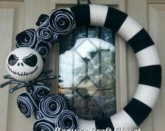 Jack skellington etsy jack skellington wreath jack skellington nightmare before christmas wreath halloween wreath christmas solutioingenieria Choice Image