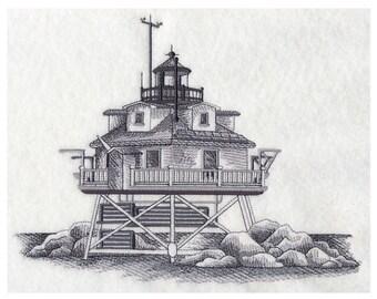 Custom Embroidered Thomas Point Shoal Lighthouse Sweatshirt S-3XL