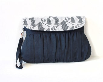 Navy linen and ivory lace clutch - wedding clutch -bridesmaid clutch - linen and lace clutch