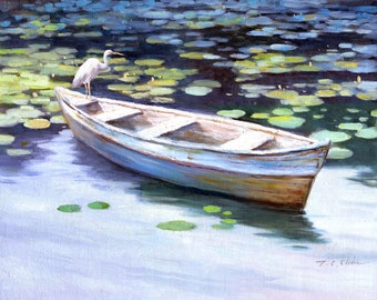Egret on Boat Art Print of Watercolor Painting - Lake, Nature, Lily Pads
