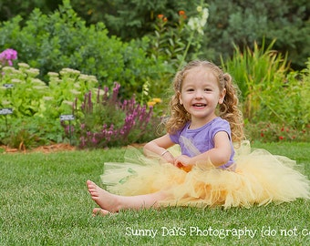 Buttercup Fairy Tutu..size Large (5-7) years...Plus a FREE matching Flower clip...