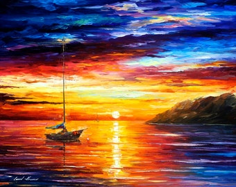"Sea Wall Art - Resting By The Hill — Palette Knife Seascape Oil Painting On Canvas By Leonid Afremov. Size 40"" X 30"" Inches (100 cm x 75 cm)"