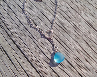 Aqua Blue Chalcedony Sterling Silver Lariat Necklace - Gifts for Her