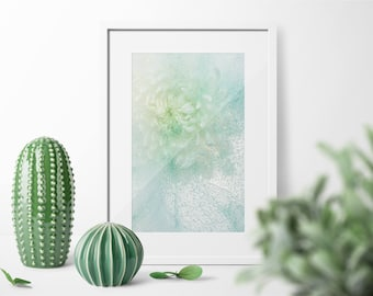 Floral Fine Art Large Wall  Print WaterColor Paper. Limited Edition Print Light Blue Botanical ArtWork, Light White Blue Green Flowers Photo