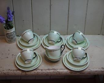 Beautiful English Bone China Tea Set - Pastel Green Tea Set- Tea set - Windsor tea set - Tea Party - Baby Shower