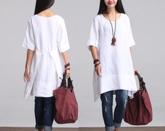 Round Neck Maxi Dress - Summer Dress - Linen Sundress for Women-Short Sleeved (S-5XL)  (Plus Size Available)(LYQ 602)