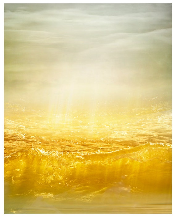 Yellow wall art Abstract water Sea print Ocean wave