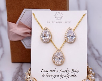 Gold Wedding Bridesmaid Gift Bridal Earrings Necklace Bracelet Jewelry Set Clear Cubic Zirconia Teardrop Ear Stud Earrings E108 B85 N221