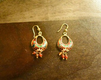 Red and Green Simple Indian Earrings