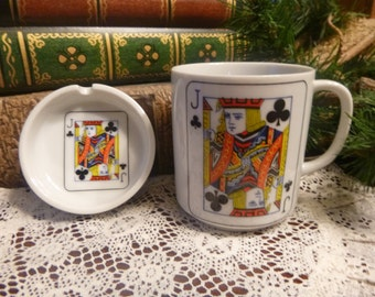 Poker Playing Cards Coffee Mug With Matching Spoon Rest   8 0z    (T)