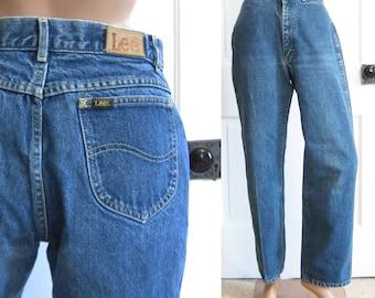 Vintage Lee Riders Jeans Straight Leg 70s 80s Black Tag 29 Inch Waist Size Denim High Waist Medium Womens