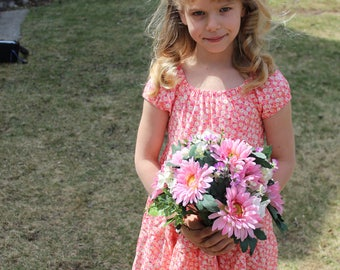 Peach and Pink Floral Peasant Dress size 7