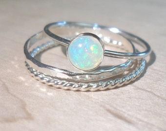 Opal ring, Opal stack set, silver opal rings, Opal ring set, October birthstone, birthstone ring, Bridesmaid gift, boho ring, festival ring