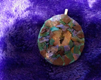 Dainty,hand-crafted polymer clay dragon's eye pendant w/ hand-painted glass cabochon. Teal green, purple, blue. Perfect for a young girl