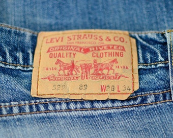 Vintage Levi 529 Jeans Bootcut Zip Fly Blue (Patch W28 L34) W 28 L 30 UK 10