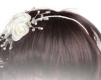 Childs Wedding Headband, Flower Girl Headband, Childrens Wedding Headdress, Bridesmaid Headdress, First Communion Headdress, Floral Hairband