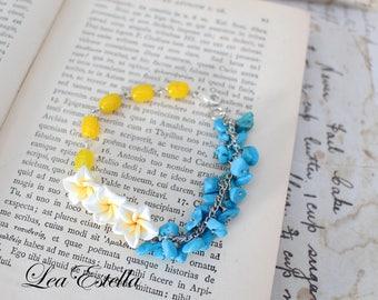 Turquoise Bracelet Yellow Floral bracelet Tropical bracelet Hawaiian Malibu Bracelet Ocean bracelet Beach wedding Tropical Cabana- Carribean